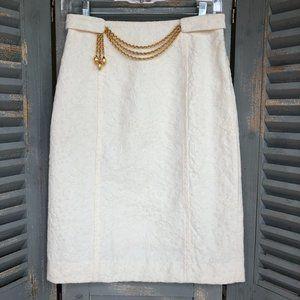 Milly Original Brocade Chain Belt Pencil Skirt